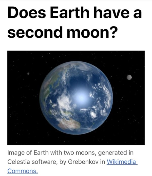 Does the Earth have any natural satellites other than the Moon Quora