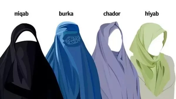 Muslim women wearing (from top left), a hijab, niqab, chador and burka. What Are The Differences Between A Hijab Niqab And Burqa Quora