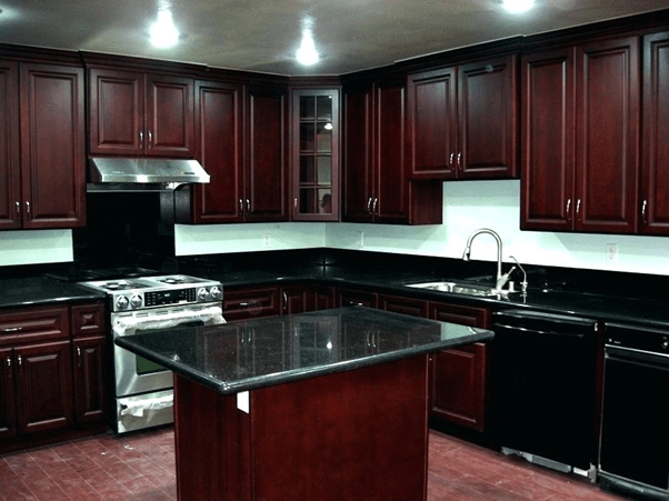 How good do black granite countertops with cherry cabinets ... on What Color Cabinets With Black Granite Countertops  id=45666