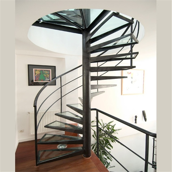 Why Are Spiral Stairs Considered Dangerous In Case Of A House Or   5 Foot Spiral Staircase   Metal   Hayden Gray   Reroute Galvanized   Steel   Handrail
