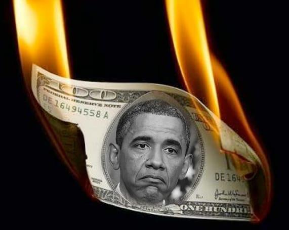Obama is burning washington money US king of debt crisis