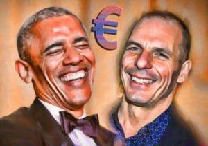 Barack Hussein Obama Jannis Yanis Varoufakis amused vergnuegt ein Prosit auf den Euro USA Griechenland muss im euroraum bleiben