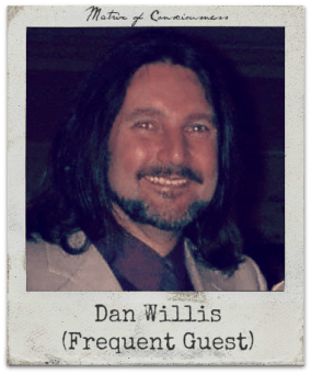 Dan Willis: Frequent guest, cohost of The Q.'s once-monthly special broadcast, OBJECTIVE: REALITY .