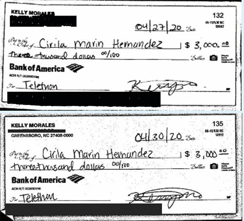 Cheques que Kelly Morales de Siembra le giró a Cirila Marín