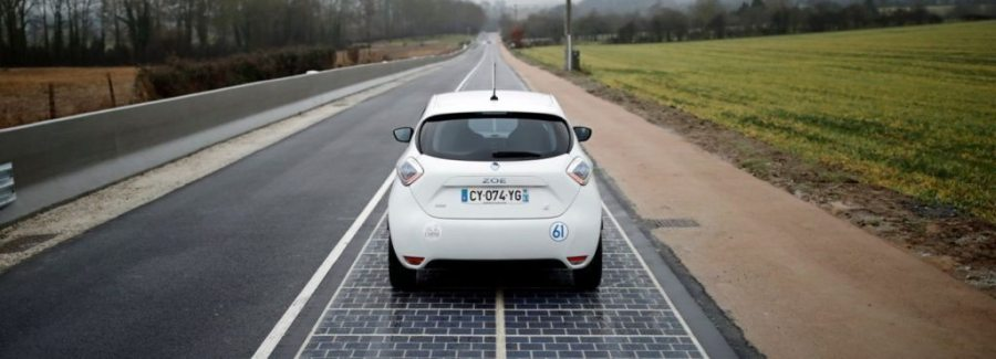 A coating of silicon-based resin allows the solar panels spread across the road to withstand the impact of the passing vehicles