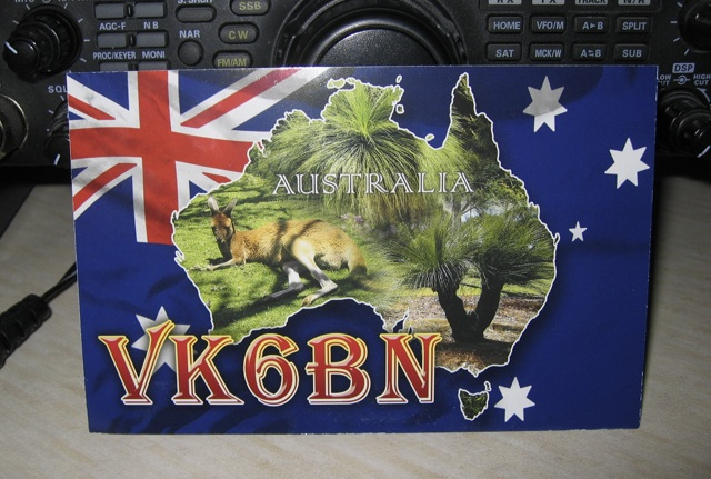 QSL card from VK6BN for QSO on 40m