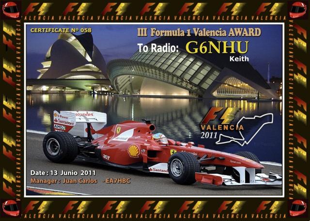 Formula 1 Valencia Award