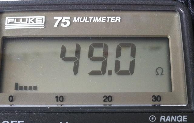 Multimeter reading across the dummy load