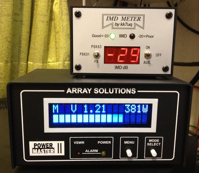 IMD meter and Power Master II showing a nice clean high power signal