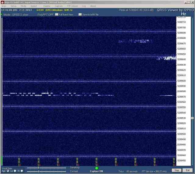 G6NHU captured on 60m QRSS at G4JVF - 228 km