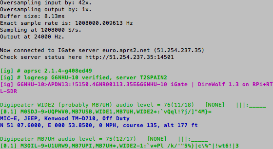 Initial test of the Raspberry Pi and RTL-SDR Dongle APRS RX only iGate