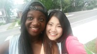 Akiho with a friend before heading to Wolfe Island