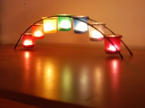 Rainbow Candles LGBTQ Bridge of Light by Kittredge Cherry