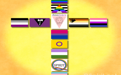 LGBTQ+ flags make a colorful cross of diversity and creativity