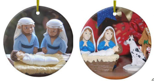 Gay and lesbian Nativity cards and ornaments available