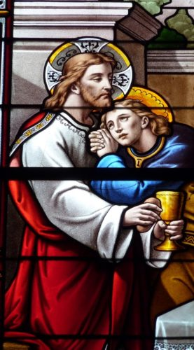 Jesus and Apostle John in stained-glass window
