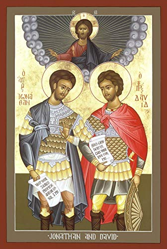 ID: a religious icon of David and Jonathan with dark skin and wearing armor against a very pale background. God as a dove flies above them.