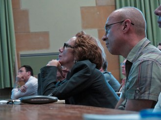 Members of the audience listen to Wark's lecture. Photo: Gilbert Bel-Bachir.