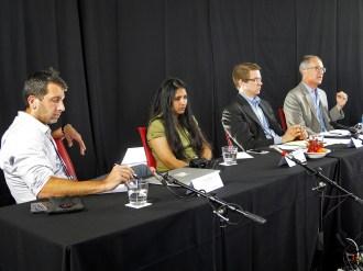 """Quantum Moment"" panel speakers Michael Biercuk (USYD), Shohini Ghose (Wilfrid Laurier U.), Bentley Allan (Johns Hopkins U.). James Der Derian, moderator. Photo: Gilbert Bel-Bachir."