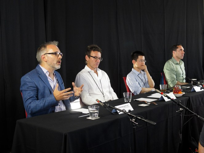 """Quantum Matter"" panel starts with Stephen Bartlett (USYD), Andrew Dzurak (UNSW), Chao-Yang Lu (U. of Science and Technology, China), and moderator Frank Smith (USYD). Photo: Gilbert Bel-Bachir."