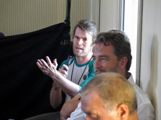 Chris Hughes starts the Q&A session. Photo: Gilbert Bel-Bachir.
