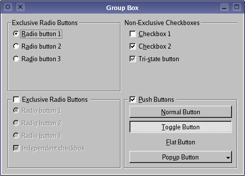Qt 4.1: Group Box Example