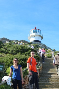 Jazmin & Bobby almost to the lighthouse at Cape Point. Cape Peninsula Tour