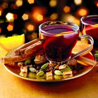 Mulled wine is a beverage usually made with red wine along with various mulling spices and raisins. It is served hot or warm and may be alcoholic or non-alcoholic.[1] It is a traditional drink during winter, especially around Christmas
