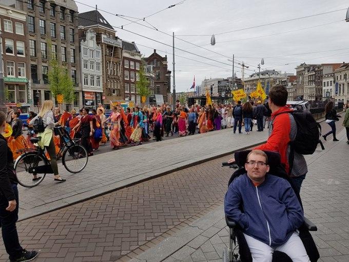 A Colourful Hare Krishna parade in Amsterdam
