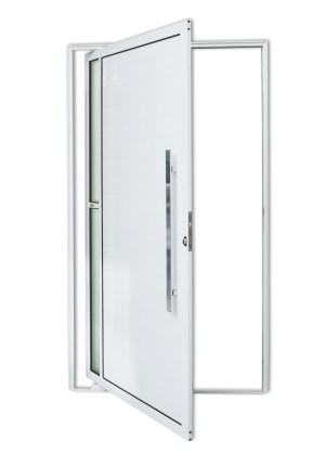 Porta Pivotante Visione em Alumínio Lambril Branco Brimak Super-25