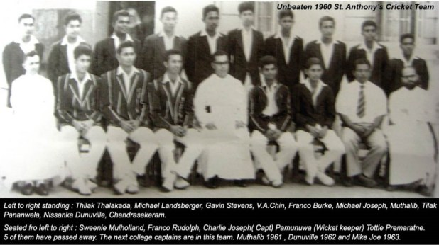 Unbeaten St. Anthony's College Katugastota 1st XI Cricket team -1960