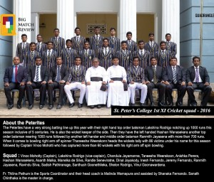 St. Peter's College 1st XI 2016