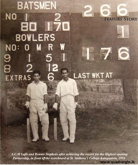 ACM Lafir & Ronnie Stephens after that memorable opening partnership against Trinity College at St. Anthony's College Grounds 1954