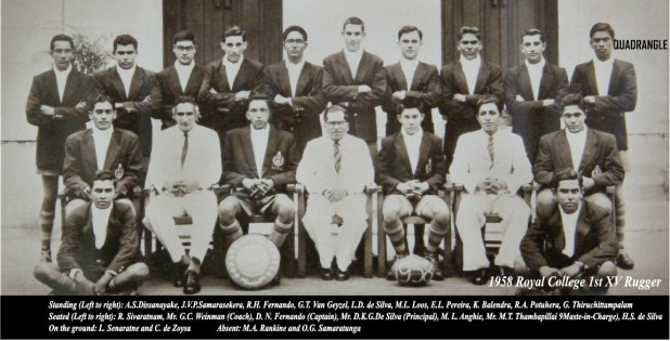 Royal College 1958 1st XV Rugger