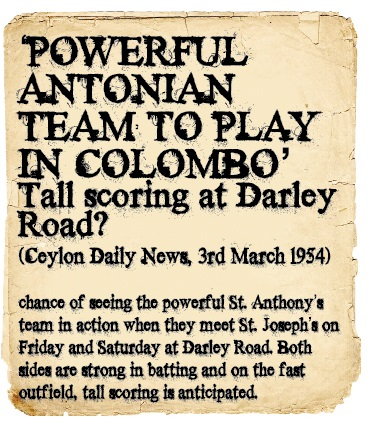 St. Joseph's Vs St. Anthony's 1954 - Ceylon Daily News