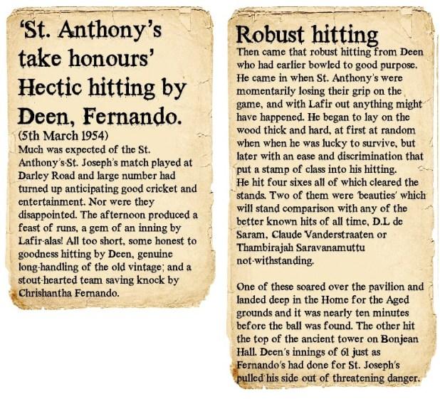 St. Joseph's Vs St. Anthony's 1954 - Post match articles