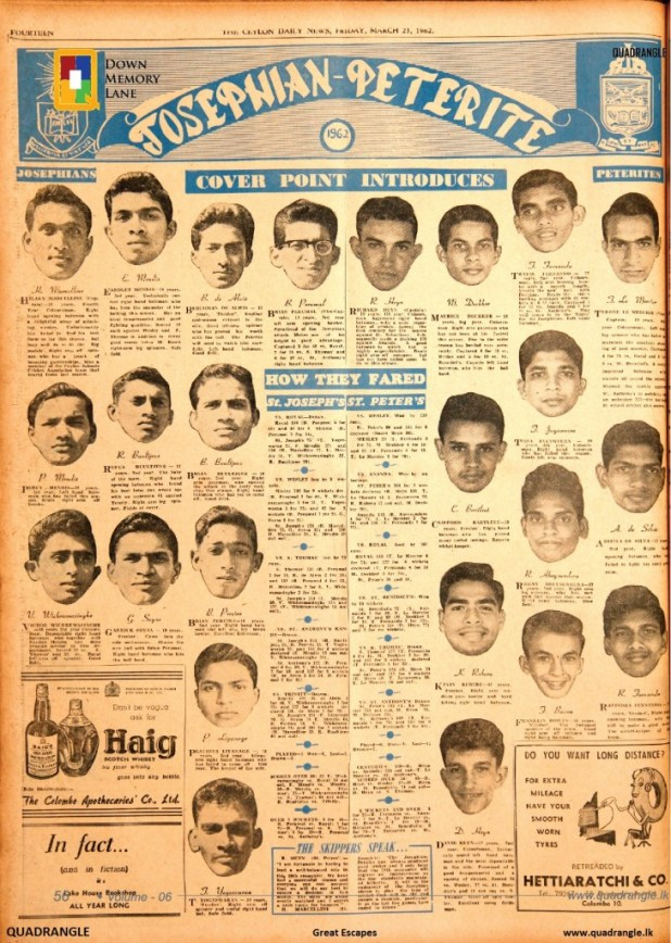 1962 Battle of the Saints - Match preview, March 23 Ceylon Daily News