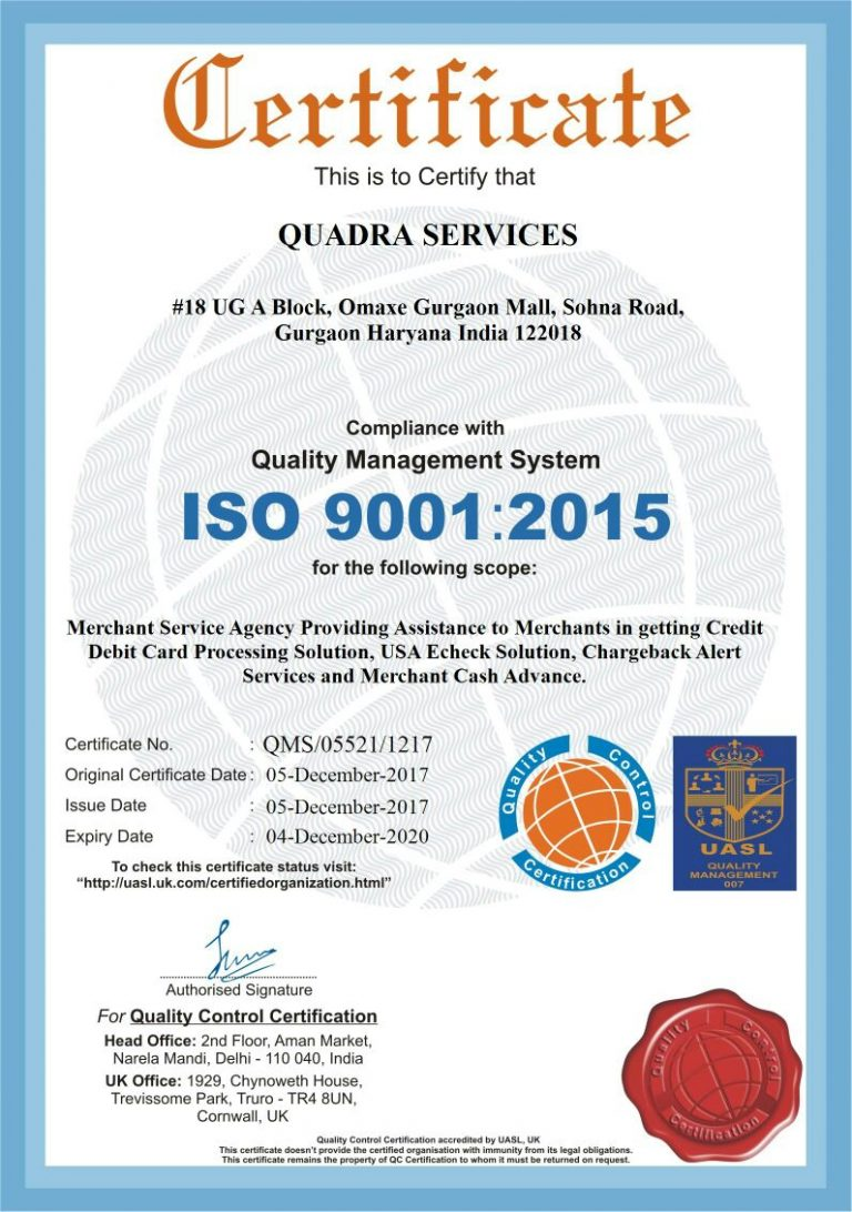 Quadrapay ISO Certification
