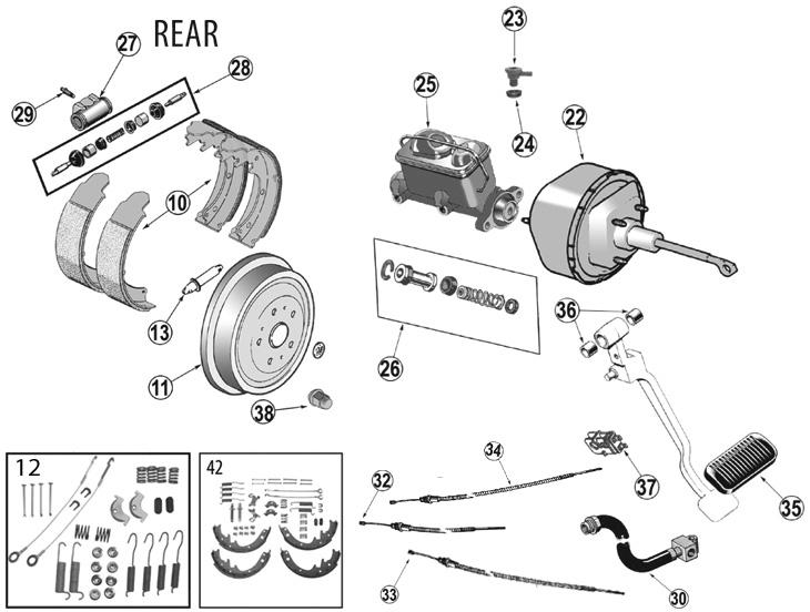 Jeep Wrangler YJ Rear Brake Parts ('87-'95)