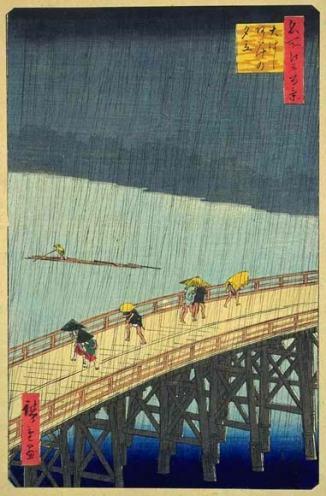 Sudden Shower over Shin-Ōhashi Bridge and Atake. Ando Hiroshige