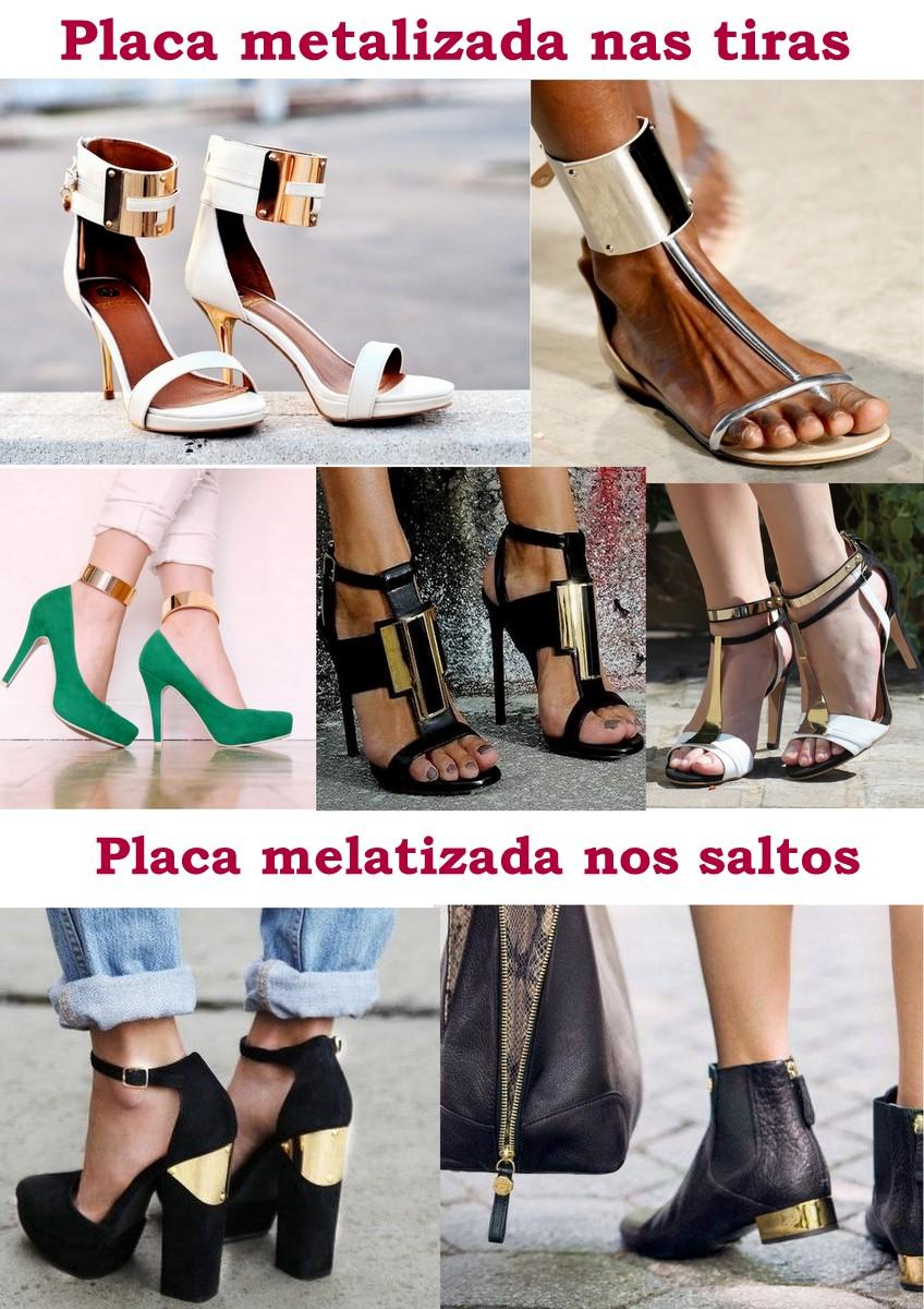 Sapatos com placas metalizadas