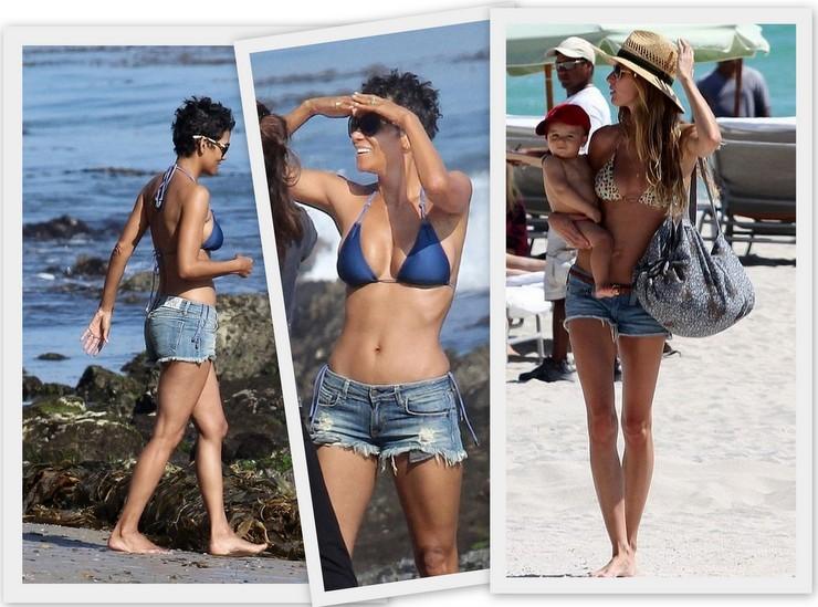 Shorts jeans na praia