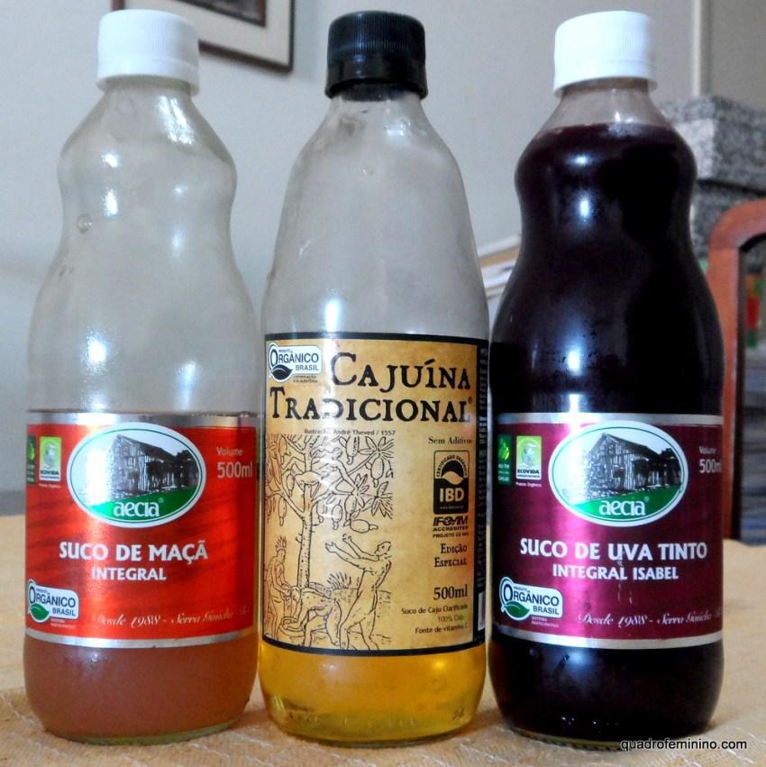 Suco de Maçã, Cajuína e Suco de Uva Orgânico