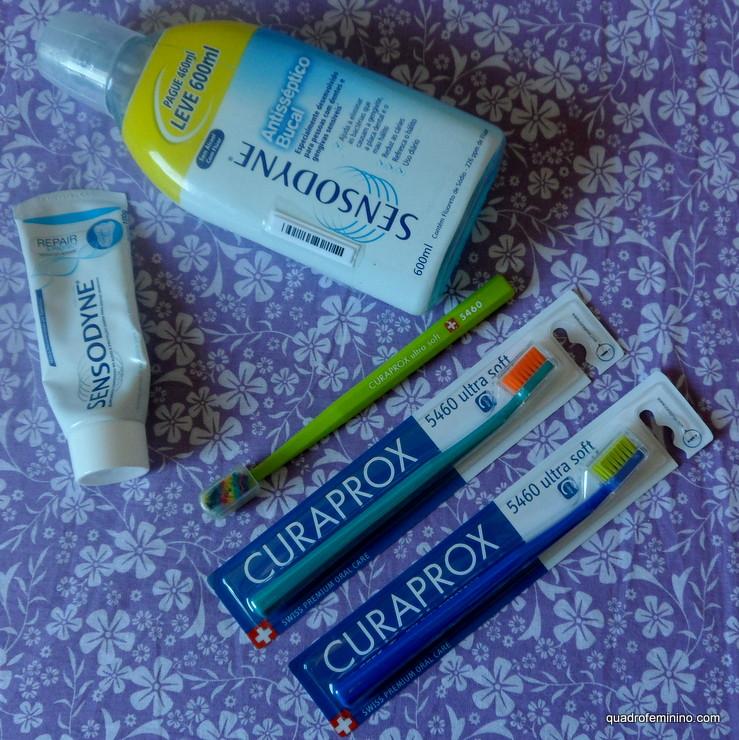Creme Dental Sensodyne Repair, Antisséptico Bucal Sensodyne e Escova de Dente Ultra Macia Curaprox