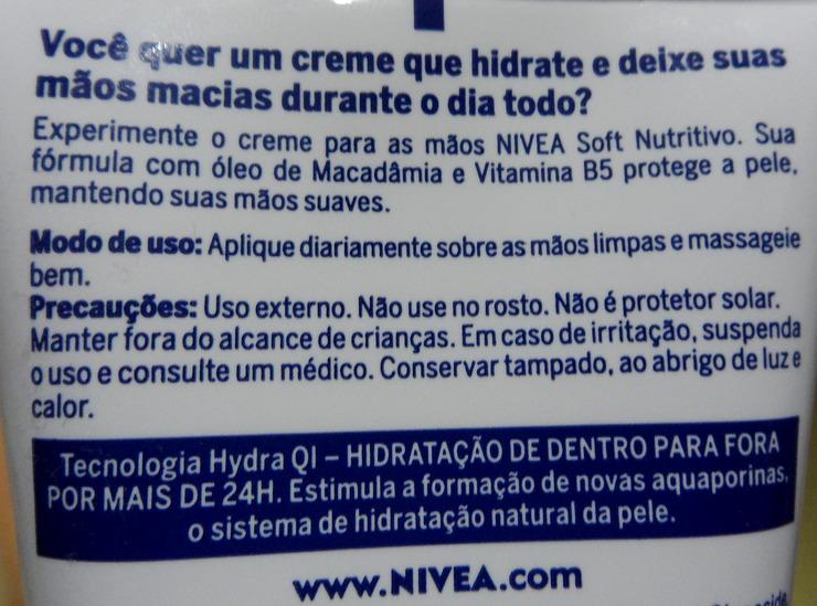 Descrição Creme para as mãos - Nivea Soft Nutritivo