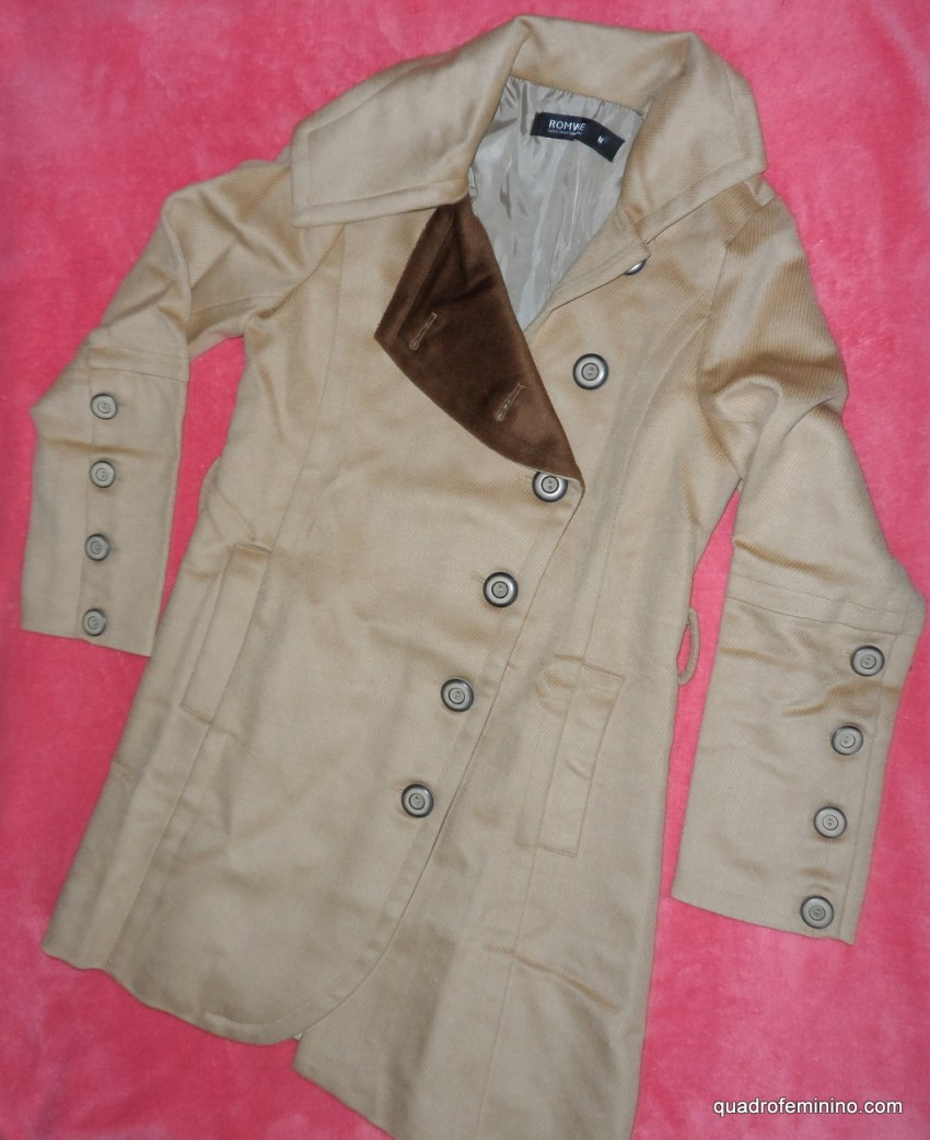 Color Contrast Collar Khaki Coat - Romwe