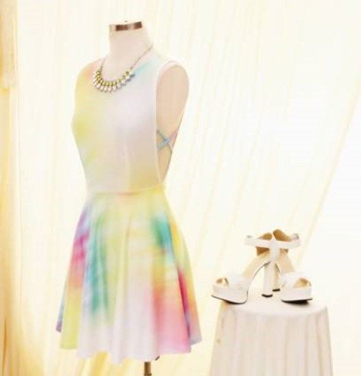 Romwe Colorful Print Sleeveless Dress