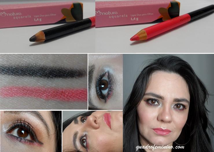 Lápis Duo Para Olhos Natura Aquarela - rosa e preto