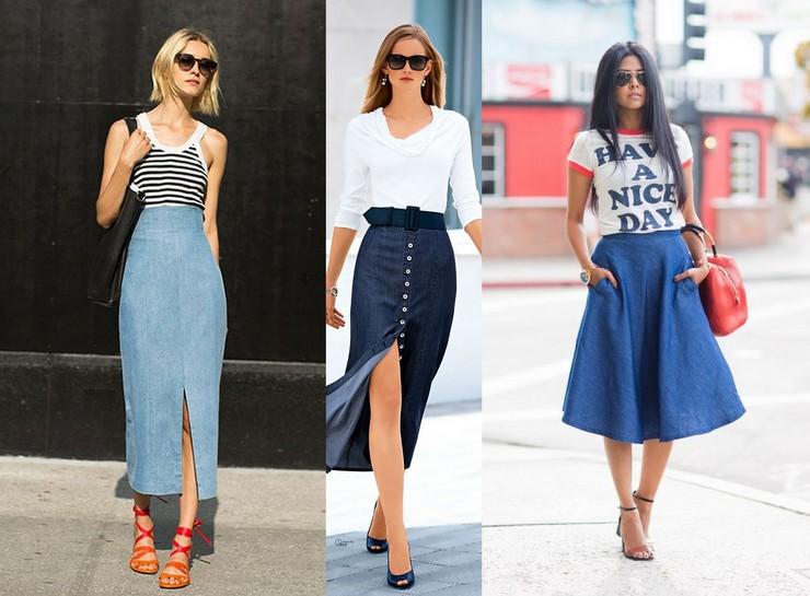Como usar saia jeans - vários modelos