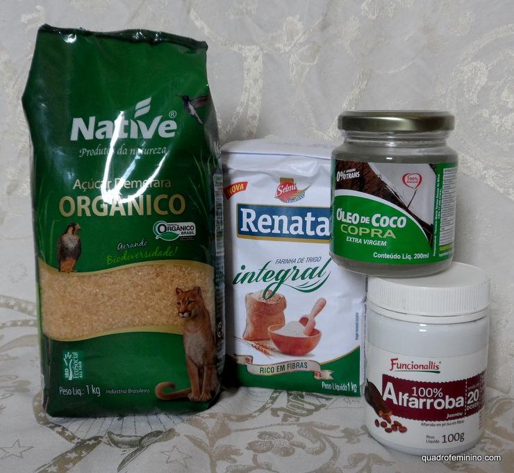 Alfarroba em pó Funcionallis, óleo de coco Copra, açucar demerara Native, trigo integral Renata